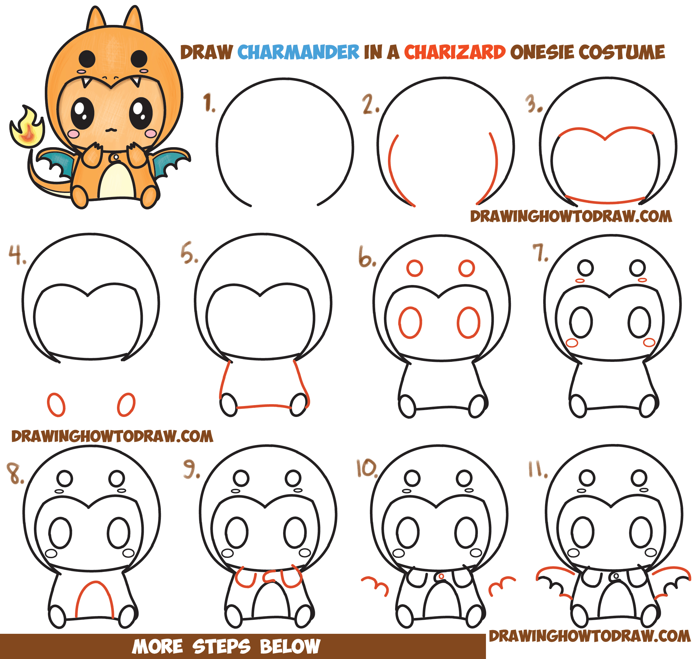 How to Draw Charmander Wearing a Charizard Costume Onesie with a Hood Easy Step by Step Drawing Tutorial for Kids