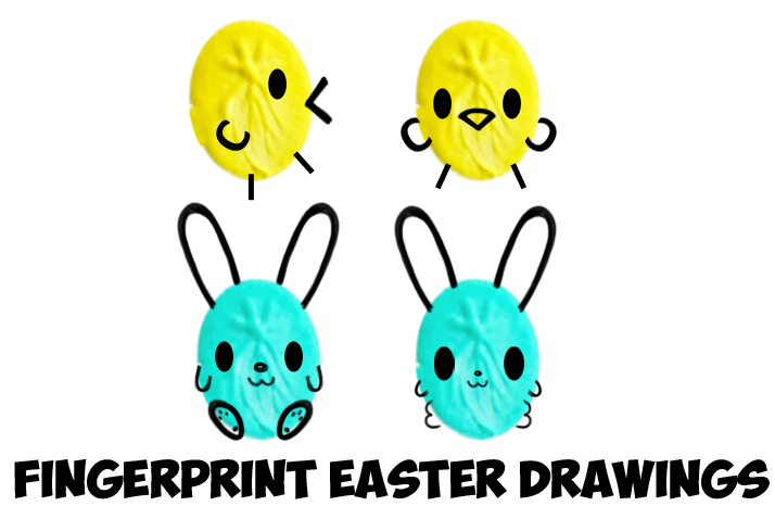 How to Draw Cute Easter Drawings from Thumbprints Fingerprints or Ovals (Bunny Rabbits & Baby Chicks) for Easy Easy Step by Step Drawing Tutorial for Kids & Preschoolers