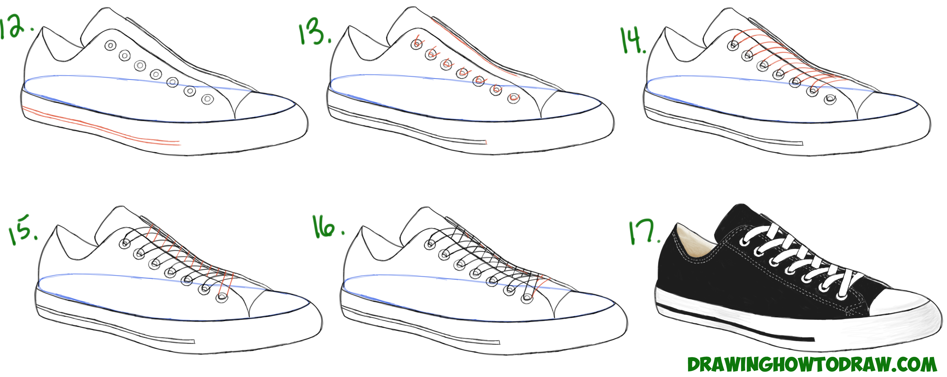 Learn How to Draw Sneakers / Shoes (Converse / Keds) with Simple Steps Drawing Lesson for Beginners