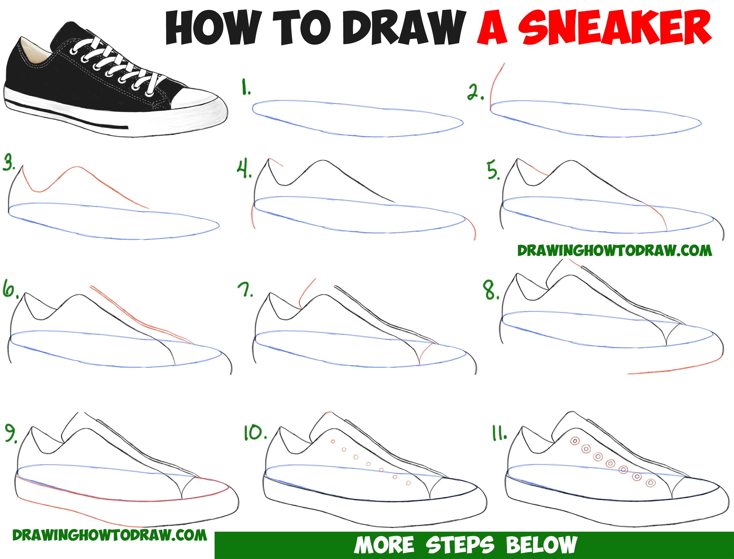 How to Draw Sneakers / Shoes with Easy Step by Step ...