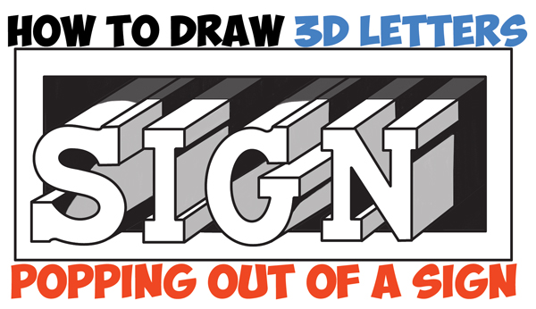 how to draw cool 3d letters popping out of the paper easy step by step drawing