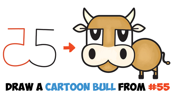 How to Draw a Cartoon Bull / Cow from Numbers & Letters Easy Step by Step Drawing Tutorial for Kids