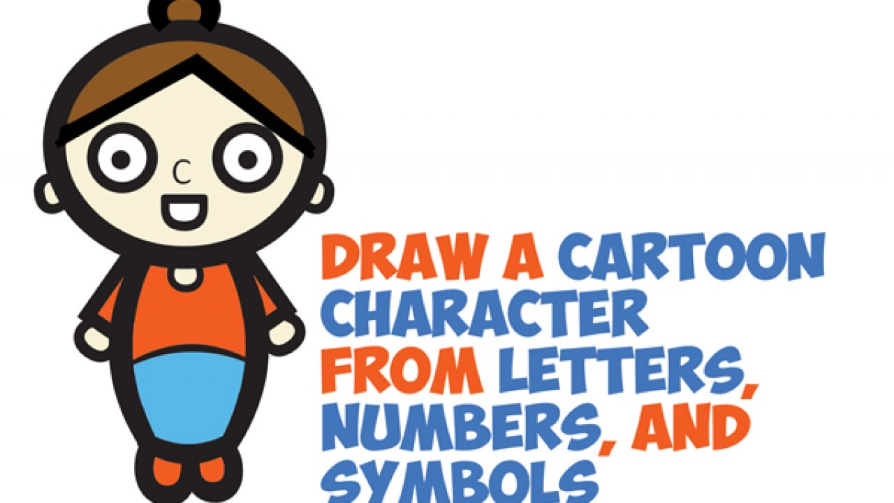 How To Draw A Cartoon Woman Character From Letters Numbers