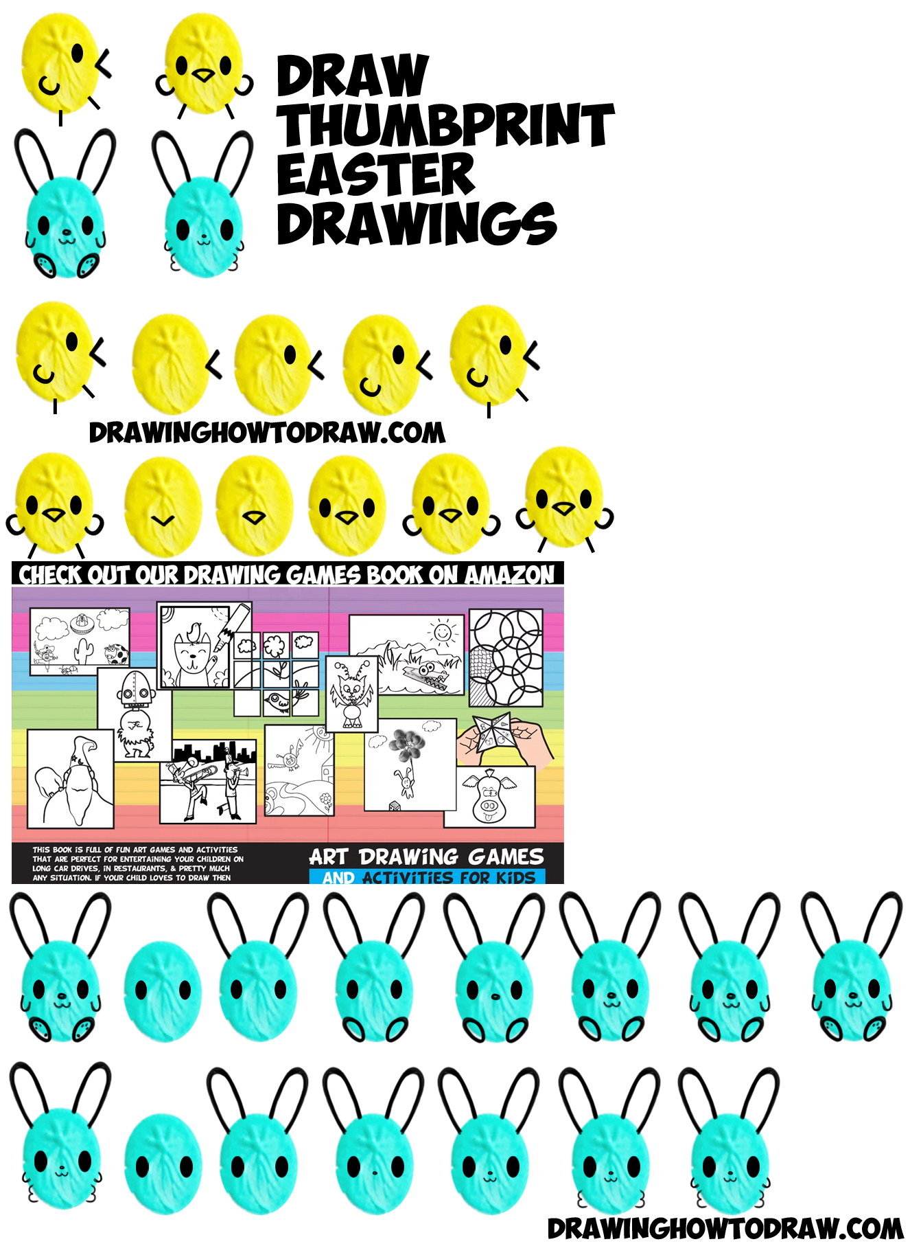 How To Draw Cute Easter Drawings From Thumbprints Fingerprints Or Ovals (bunny  Rabbits & Baby Chicks) For Easy Easy Step By Step Drawing Tutorial For Kids  &