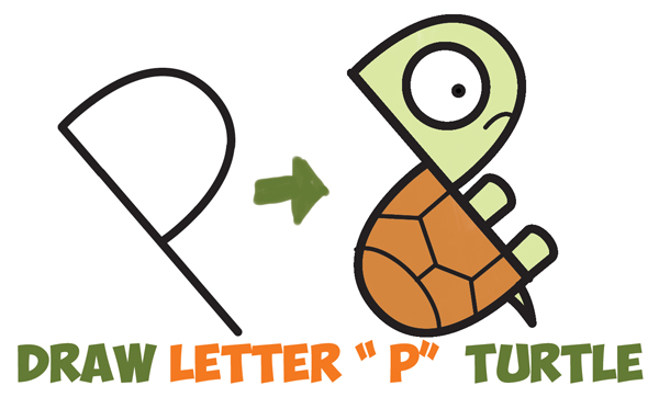 "How to Draw a Cute Cartoon Turtle from Letter ""P"" Shapes Easy Step by Step Drawing Tutorial for Kids"