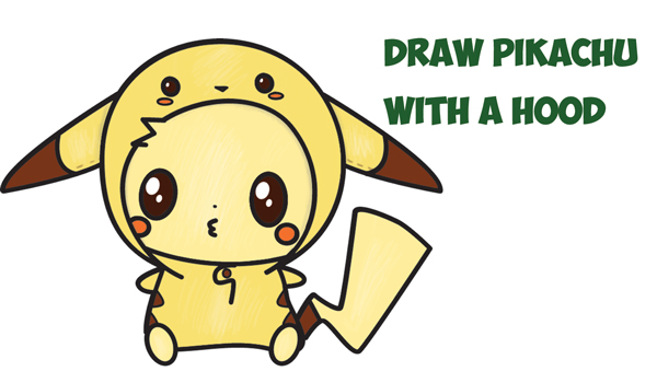 how to draw cute pikachu with costume hood from pokemon kawaii chibi style easy step by step drawing tutorial for kids and beginners how to draw step