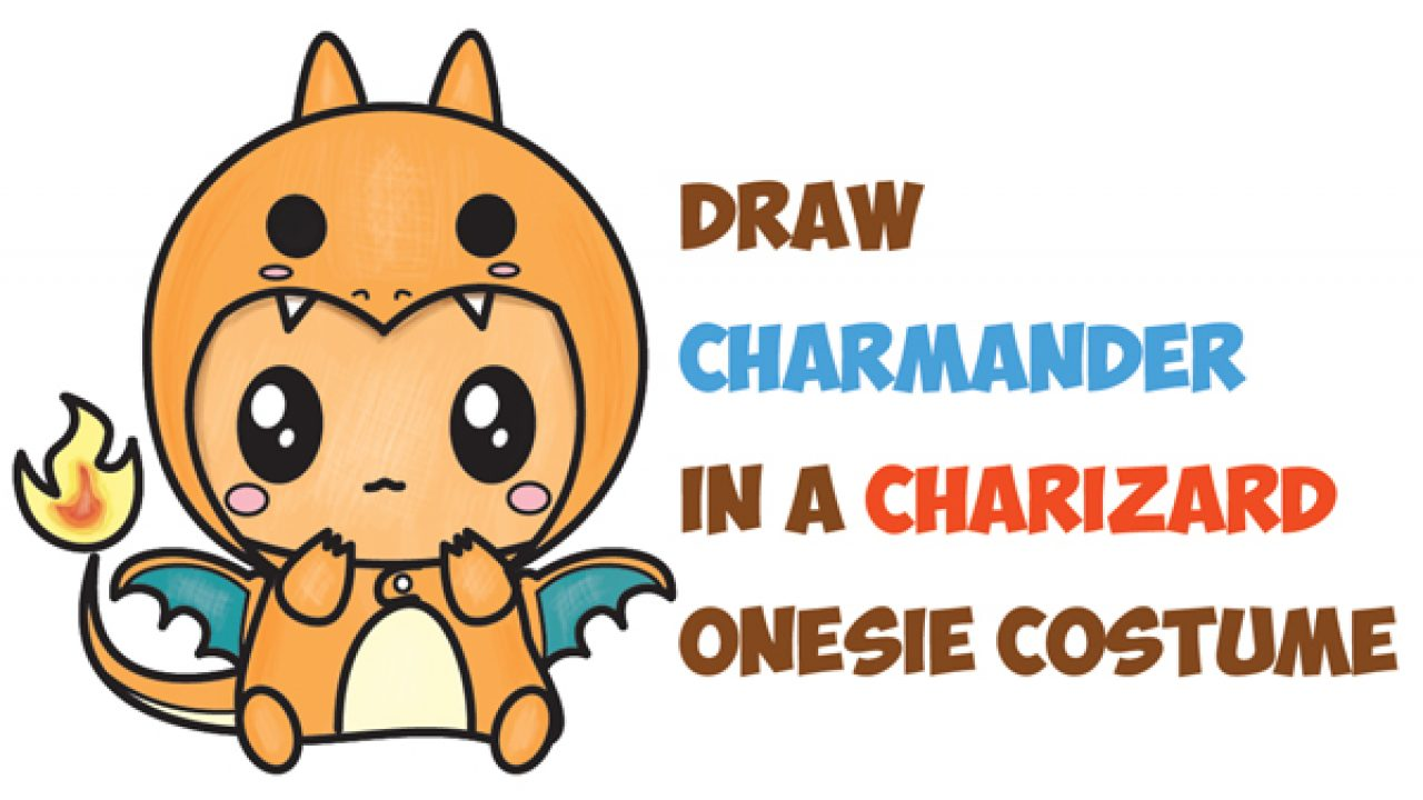 How To Draw Charmander Wearing A Charizard Costume Onesie