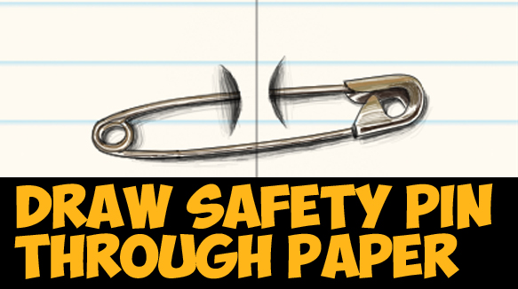 How to Draw Cool Stuff - Draw a Safety Pin Holding 2 Pieces of Paper Together - Easy Step by Step Drawing Trick Tutorial