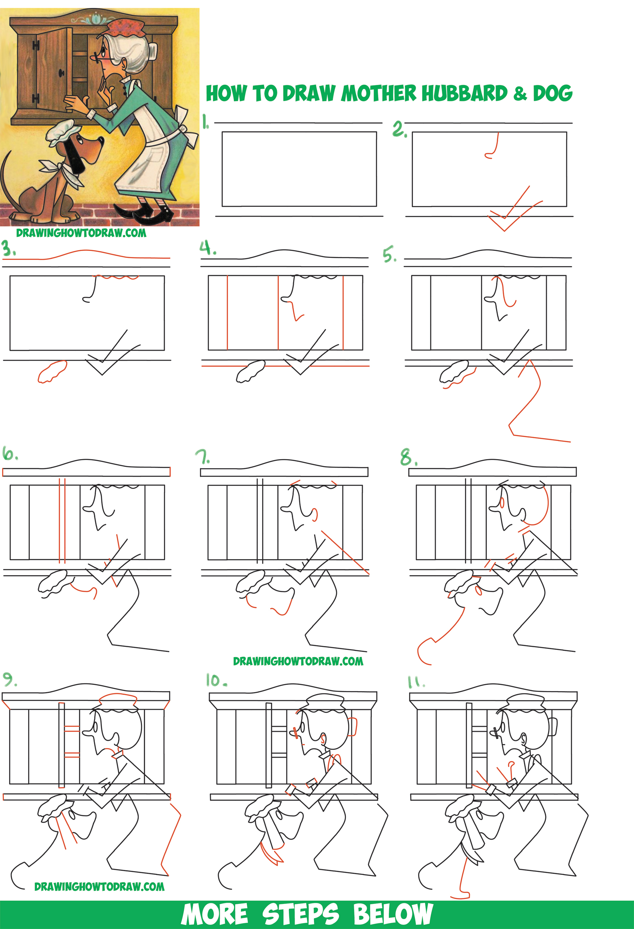 How to Draw Mother Hubbard, the Dog, & the Cupboard Easy Step by Step Drawing Tutorial for Kids