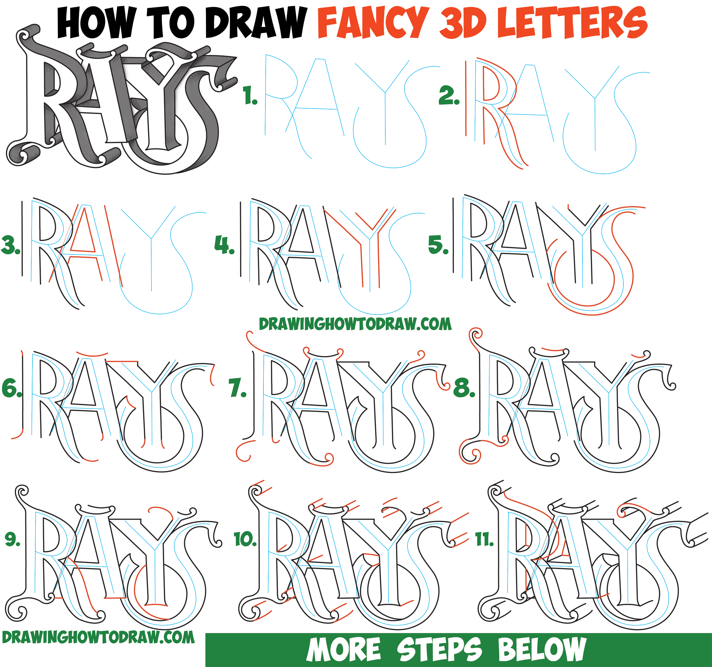How to Draw 3D Fancy Curvy Letters Easy Step by Step ...