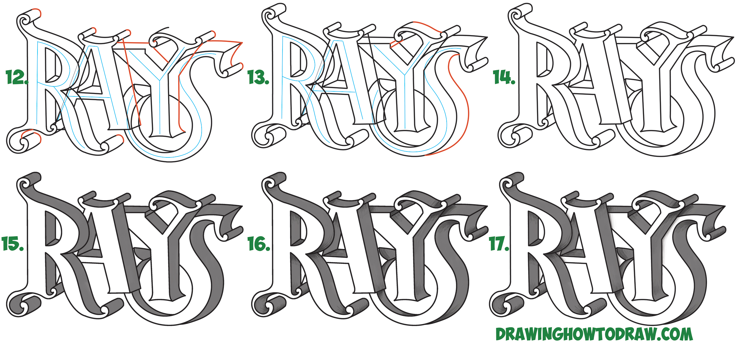 Learn How to Draw 3D Fancy Curvy Letters Simple Steps Drawing Lesson for Children & Beginners