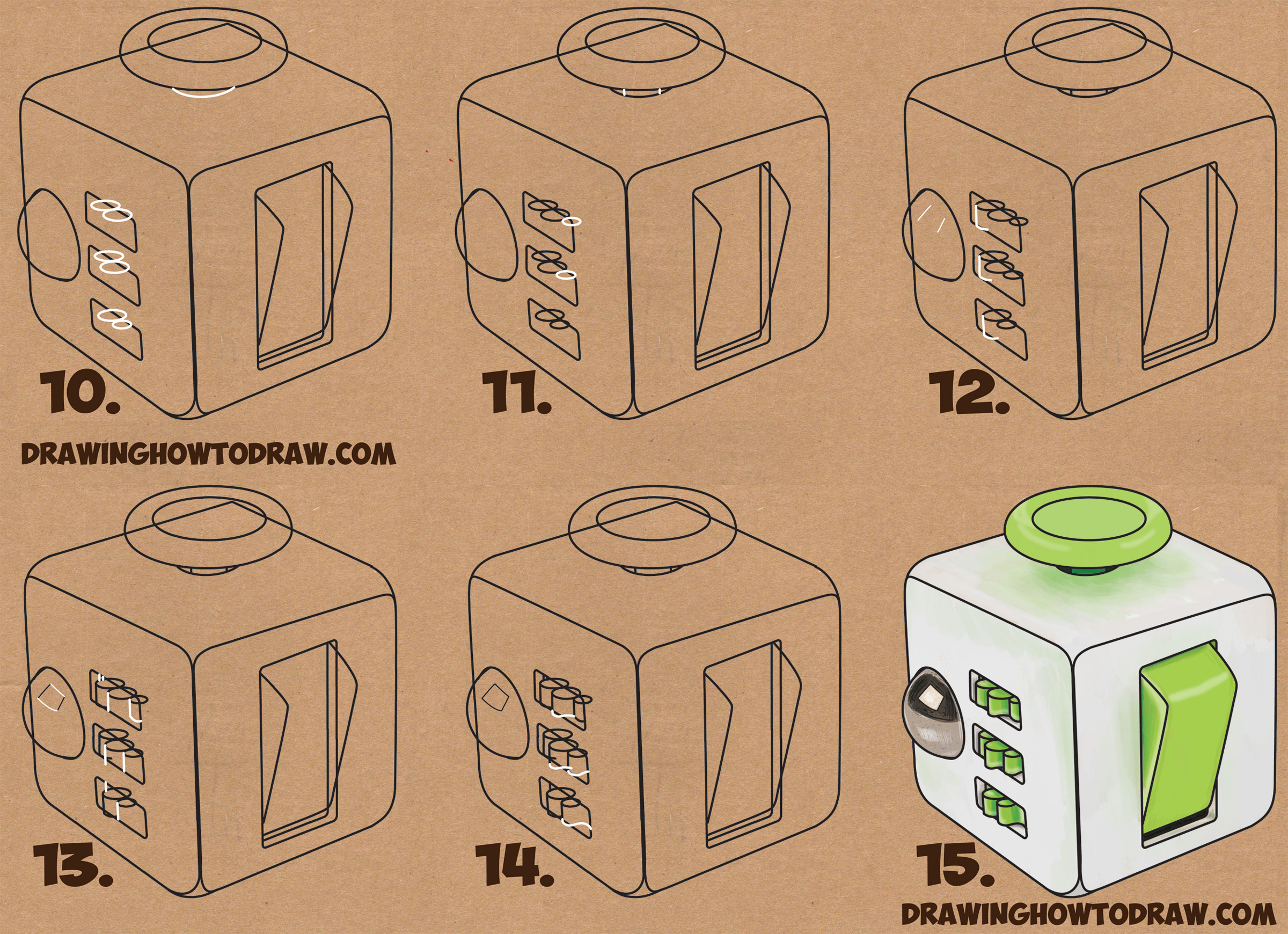 Learn How to Draw a Fidget Cube Simple Steps Drawing Lesson for Children & Beginners