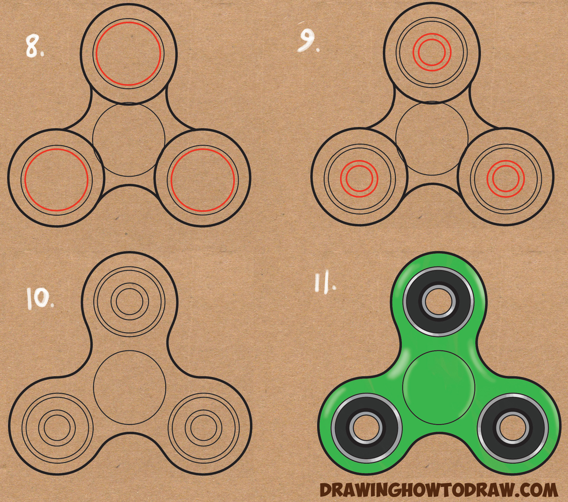 Learn How to Draw Fidget Spinners Simple Steps Drawing Lesson for Children