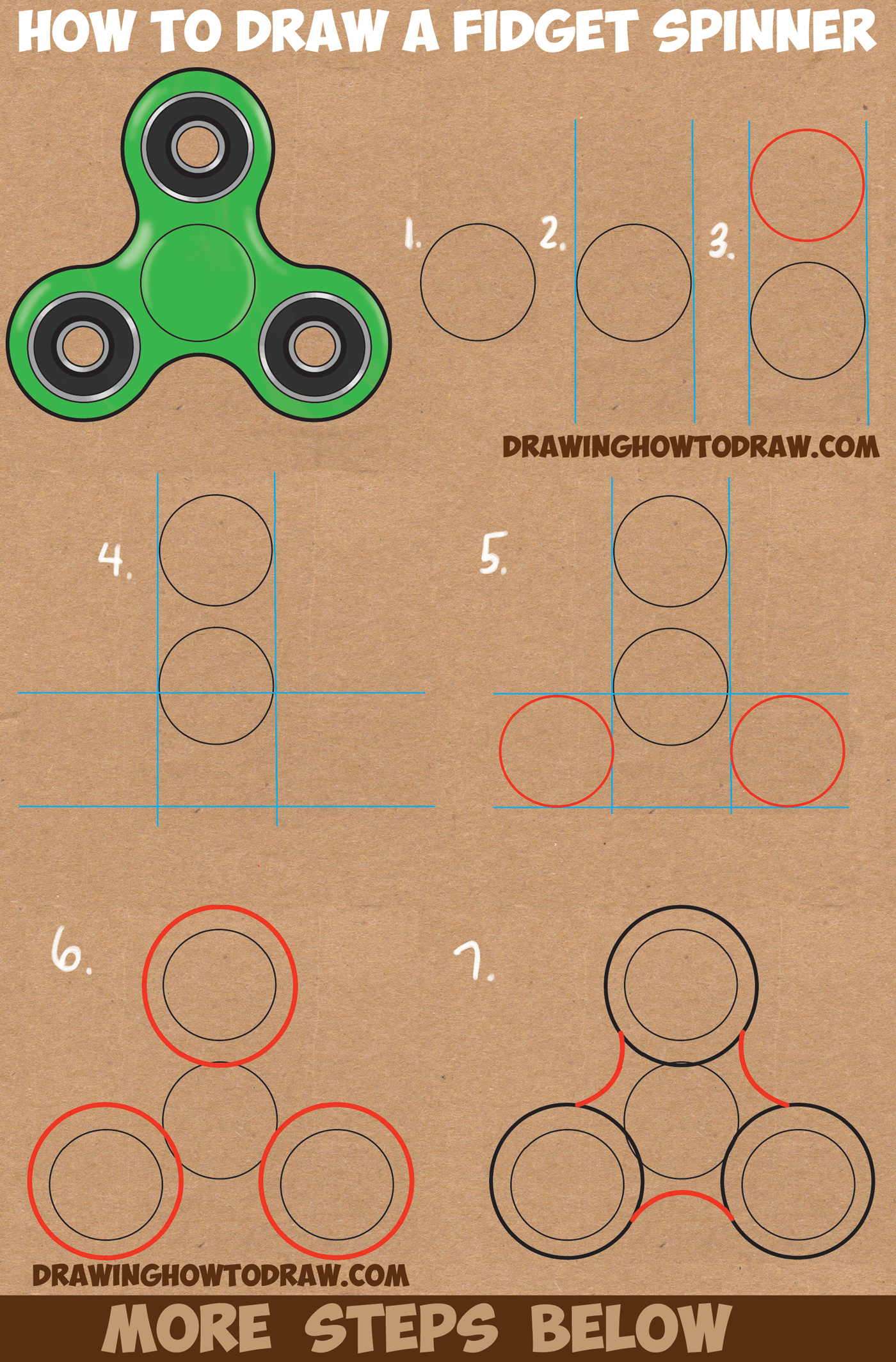 How to Draw a Fidget Spinner Easy Step by Step Drawing Tutorial for Kids and Beginners