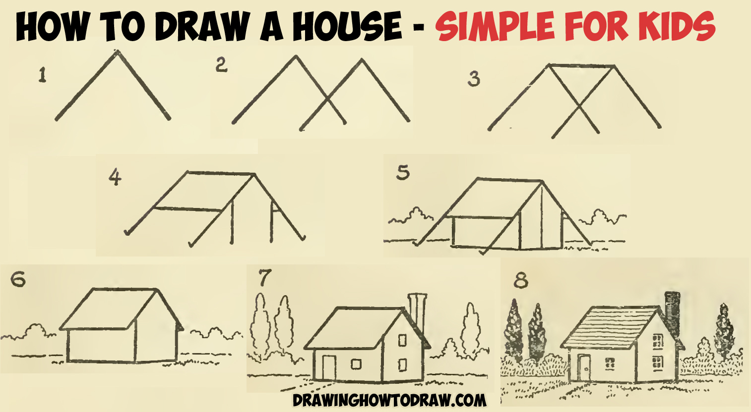 How to draw a simple house with geometric shapes easy step for House drawing easy