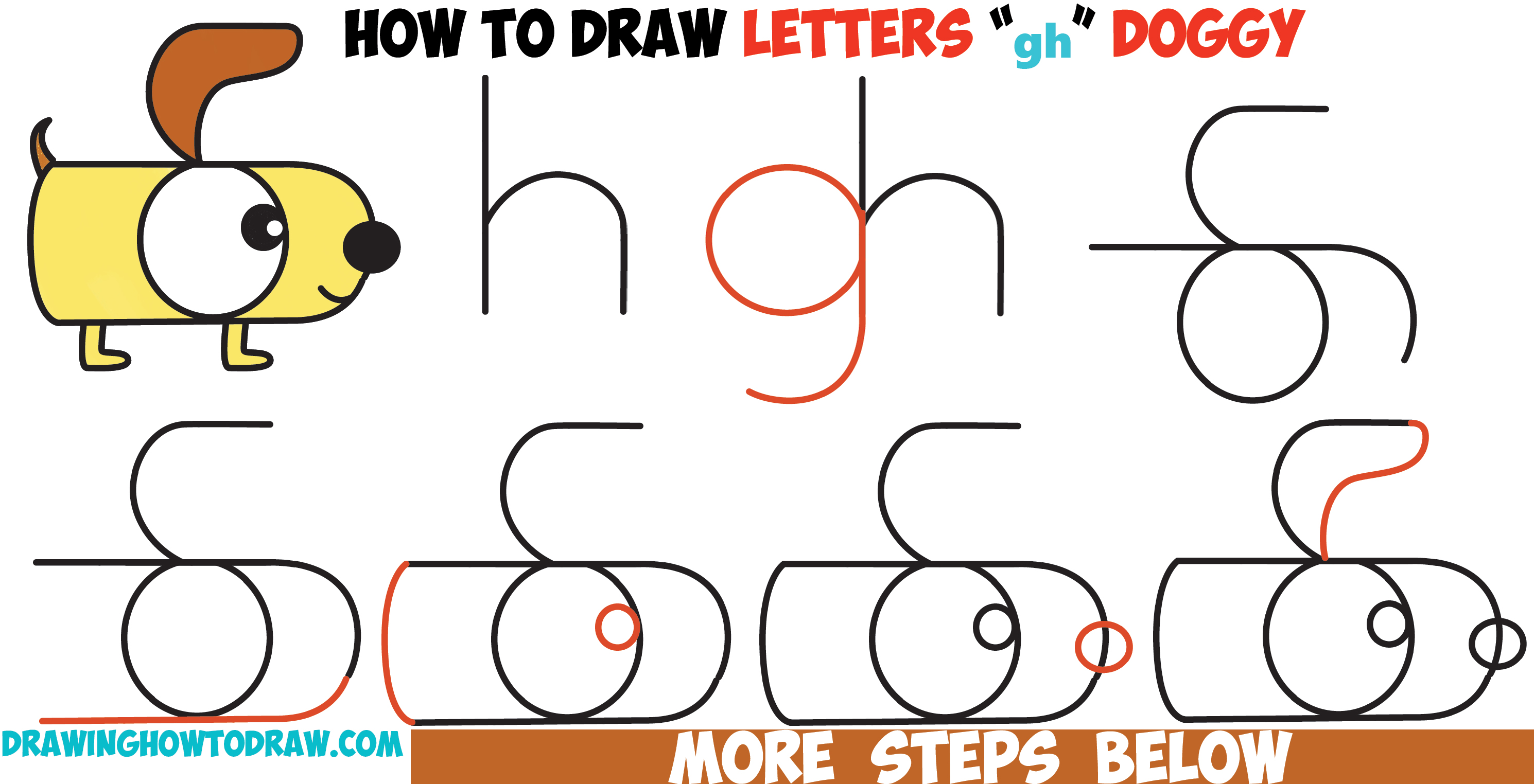 "How to Draw a Cartoon Dog from Letters ""g"" and ""h"" Easy Step by Step Drawing Tutorial for Kids"