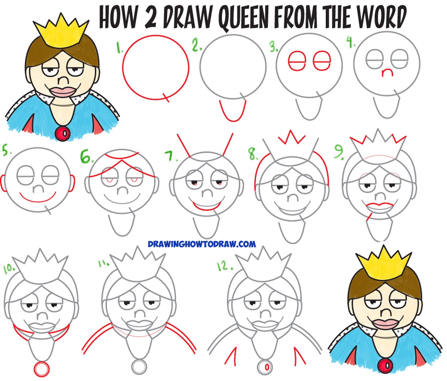 "How to Draw a Cartoon Queen from the word ""Queen"" Easy Step by Step Drawing Tutorial for Kids"