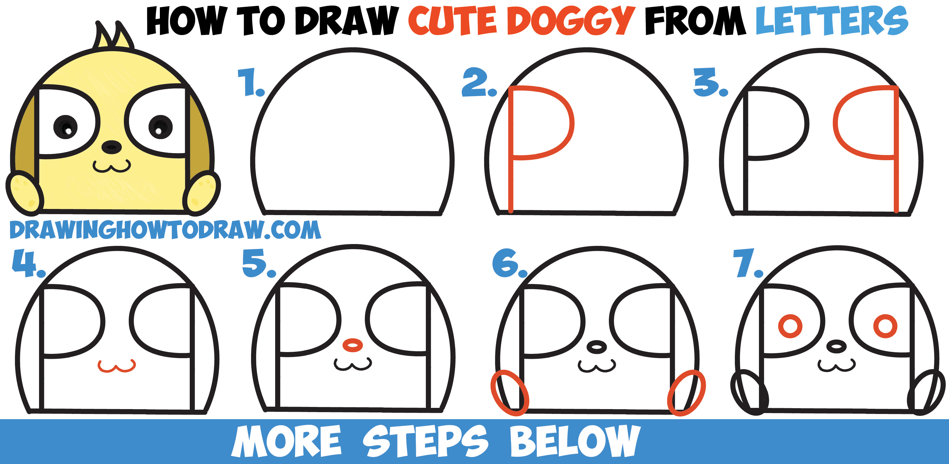 How to Draw a Cute Cartoon Puppy Doggy from Letters Easy Step by Step Drawing Lesson for Children