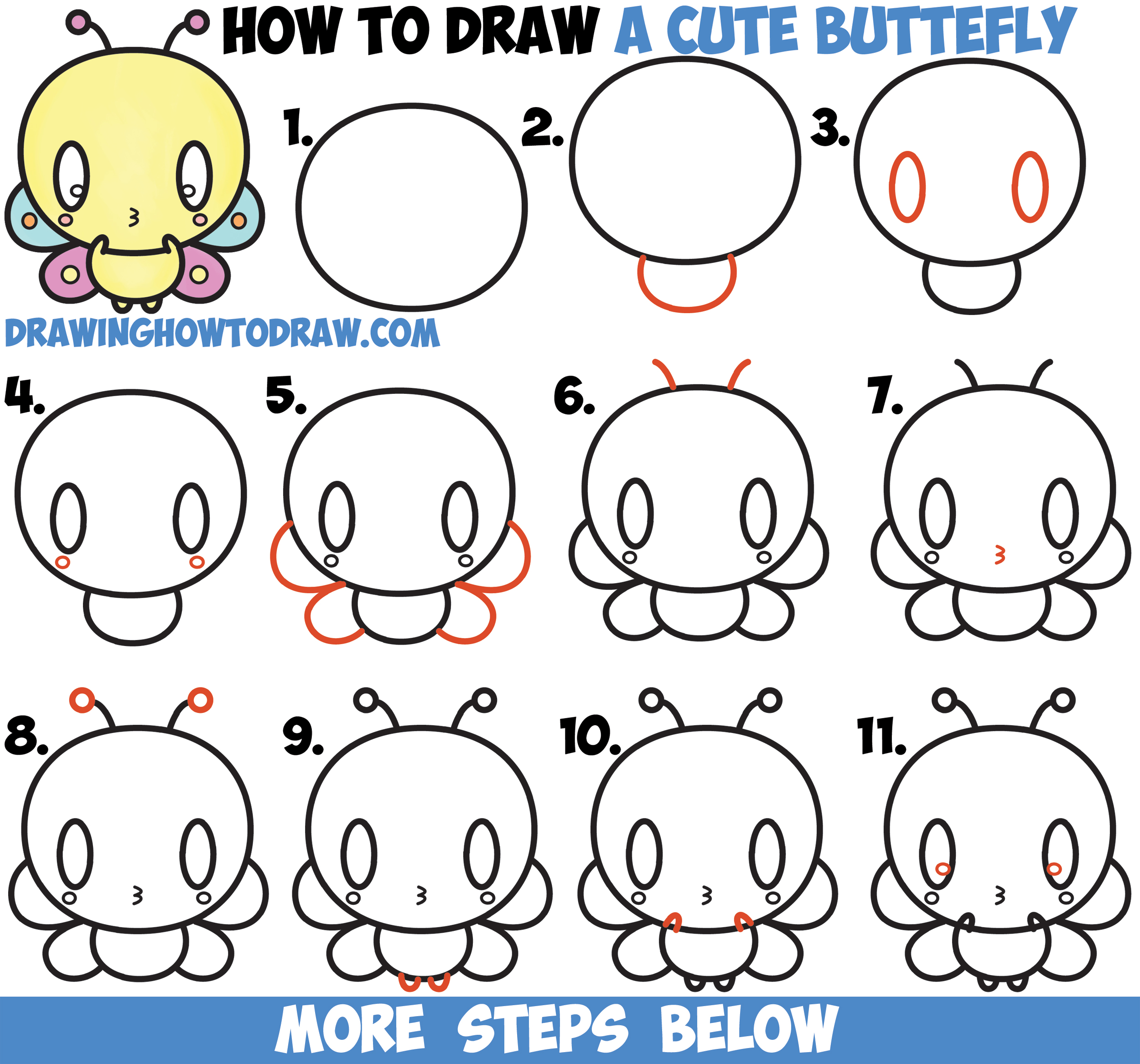 How to Draw Cute Kawaii Cartoon Butterfly Easy Step by Step Drawing Tutorial for Kids