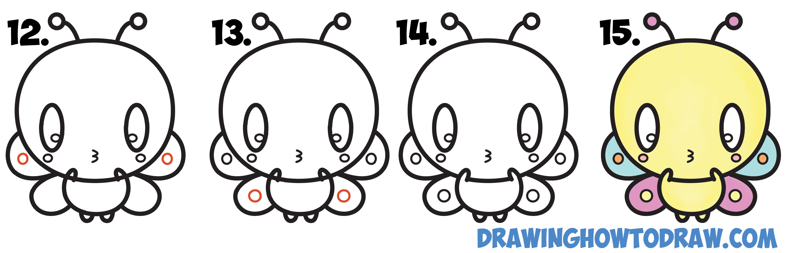 Learn How to Draw Cute Kawaii Cartoon Butterfly Simple Steps Drawing Lesson for Children & Beginners