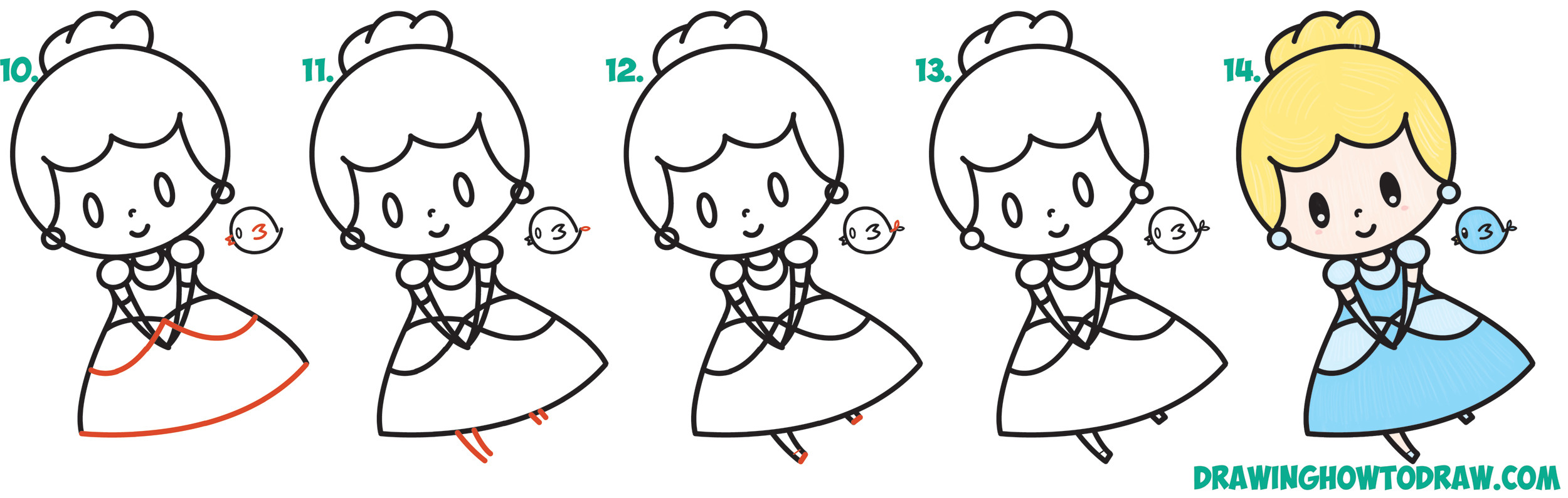 Learn How to Draw Cute Chibi / Kawaii Cinderella & Blue Bird Simple Steps Drawing Lesson for Children
