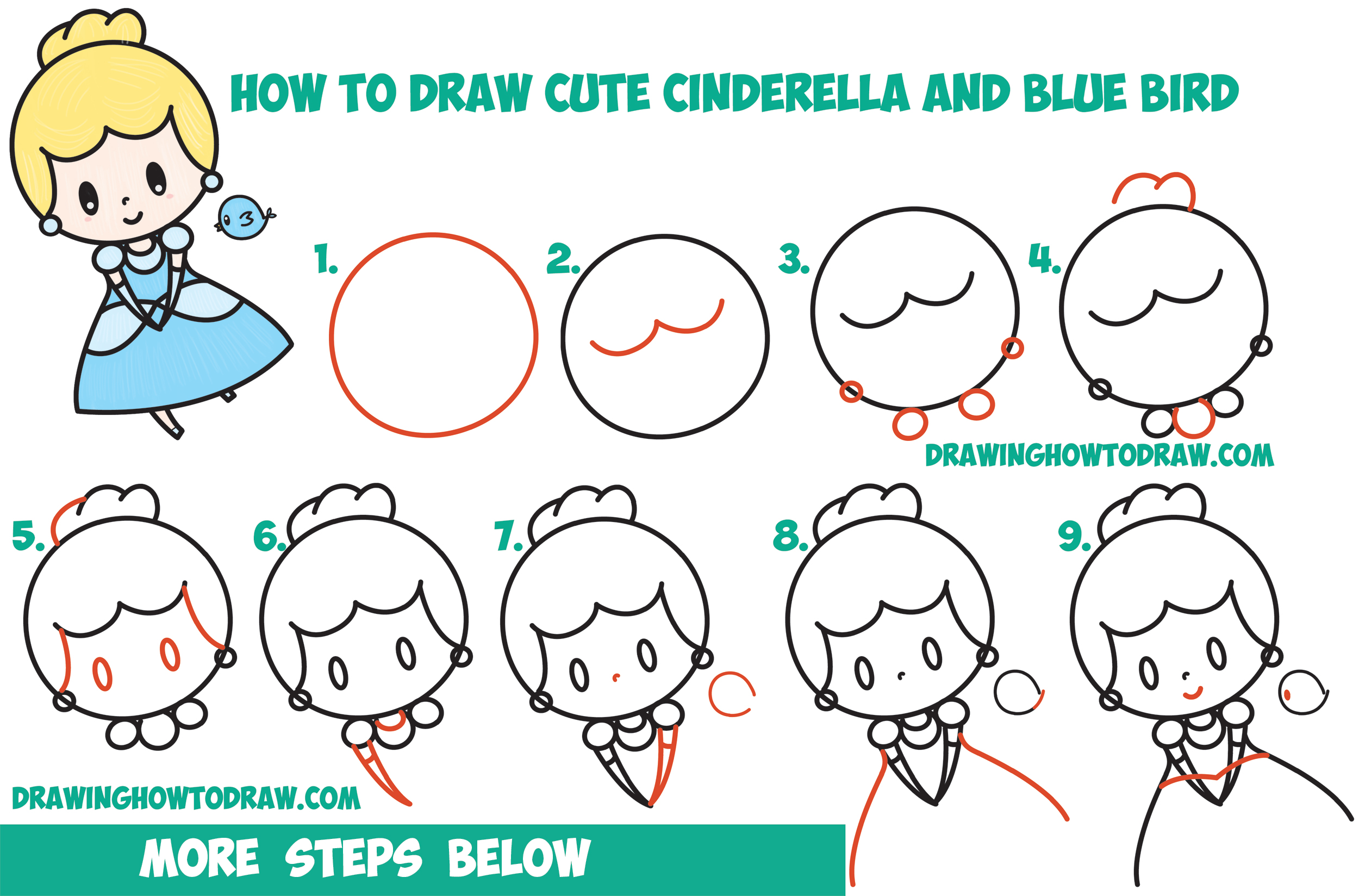 How to Draw Cute Chibi / Kawaii Cinderella & Blue Bird ...