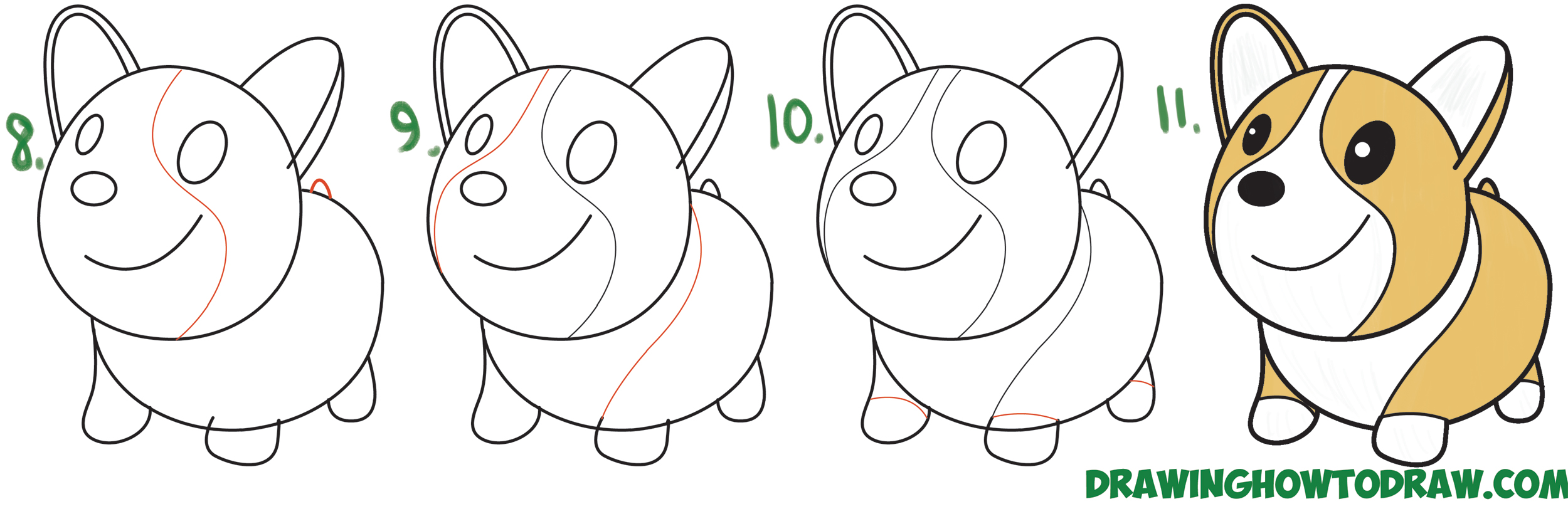 Learn How to Draw a Cute Cartoon / Kawaii / Chibi Corgi Simple Steps Drawing Lesson for Children
