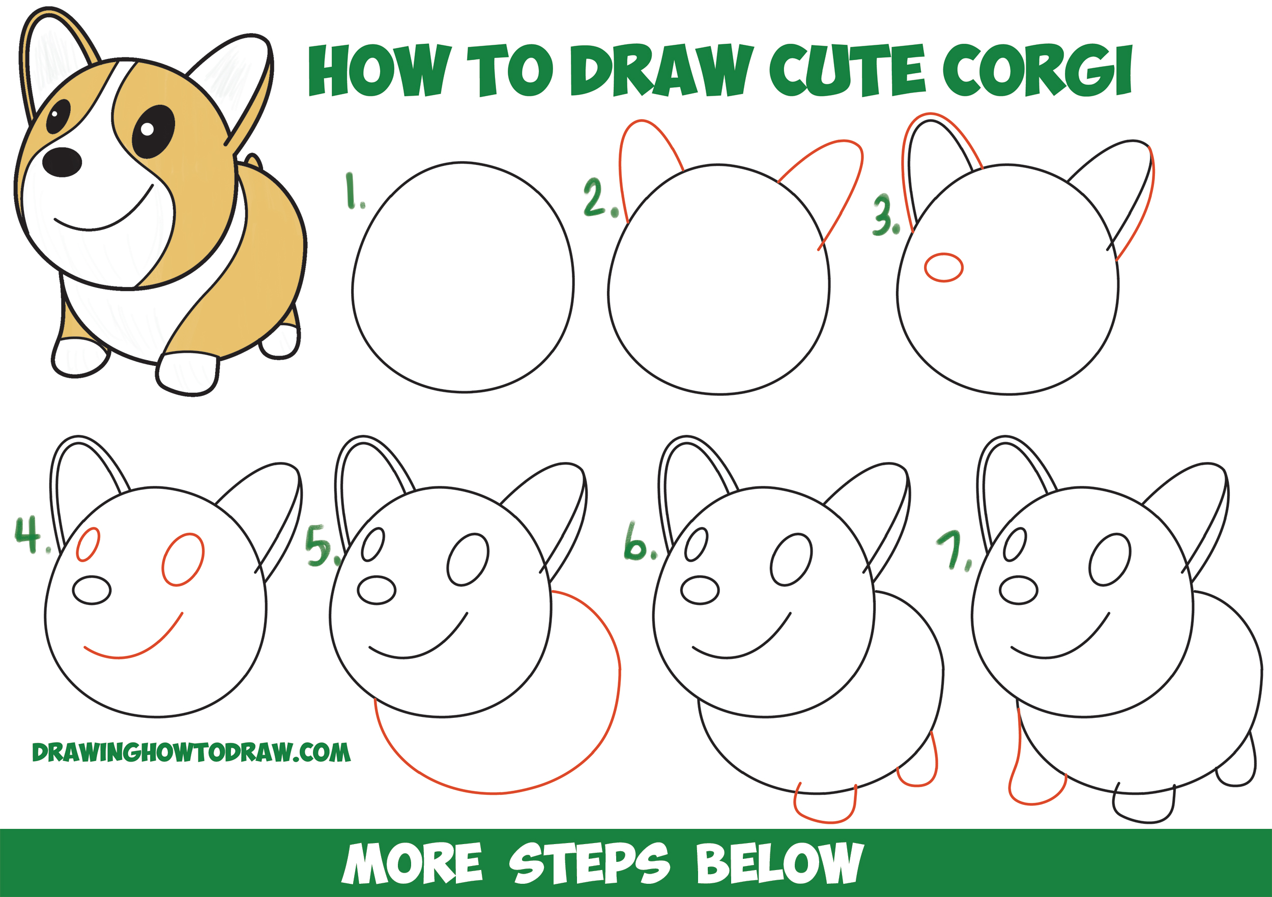 How to draw a cute corgi cartoon kawaii chibi easy for Learn to draw cartoons step by step lessons