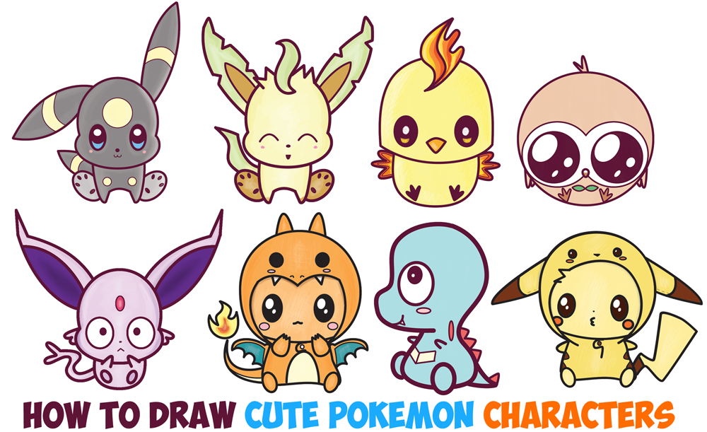 Learn How to Draw Cute Kawaii / Chibi Pokemon Characters Easy Step by Step Drawing Lesson for Kids & Beginners