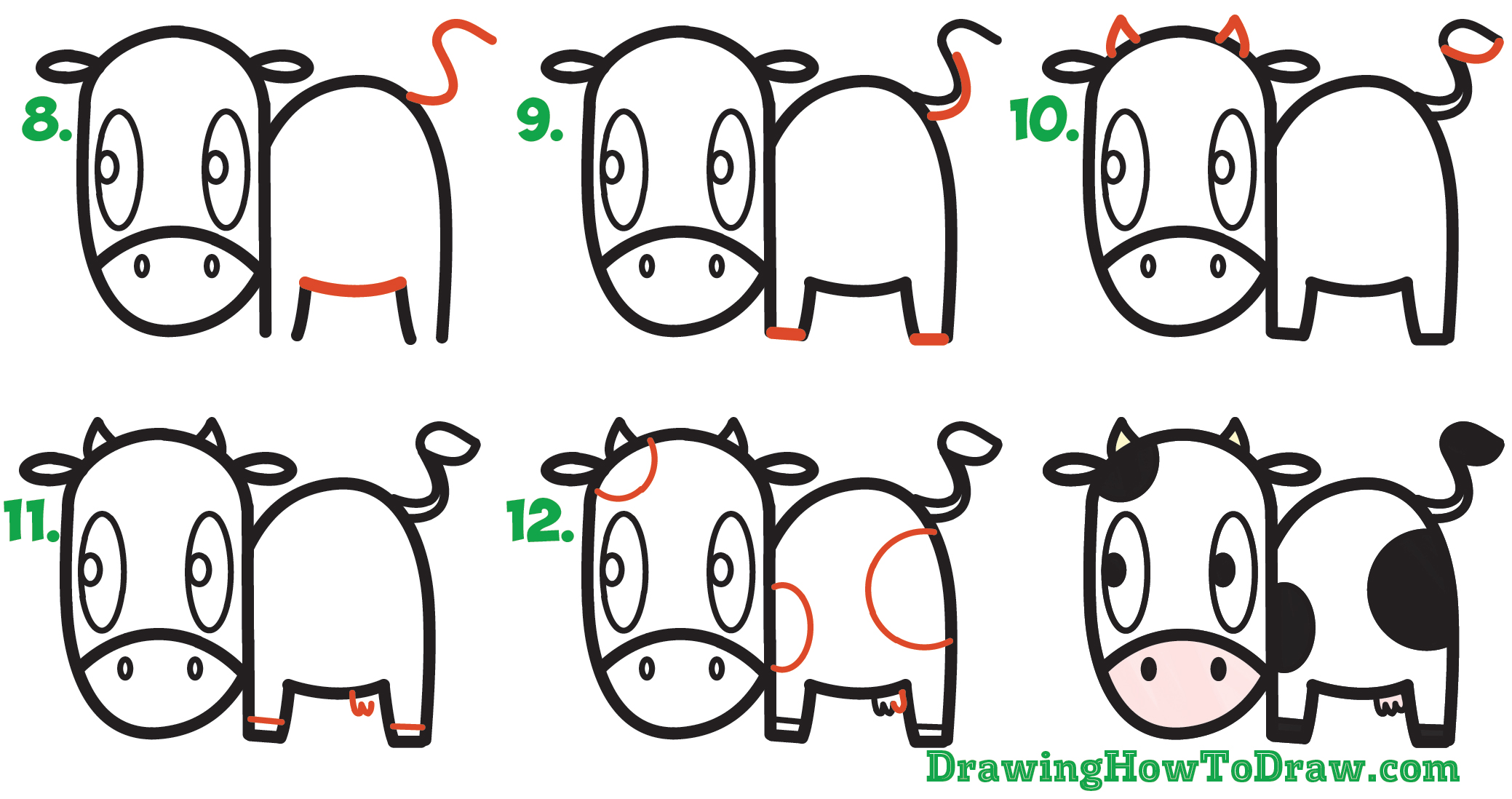 Learn How to Draw a Cute Cartoon Kawaii Cow Simple Steps Drawing Lesson for Children & Beginners