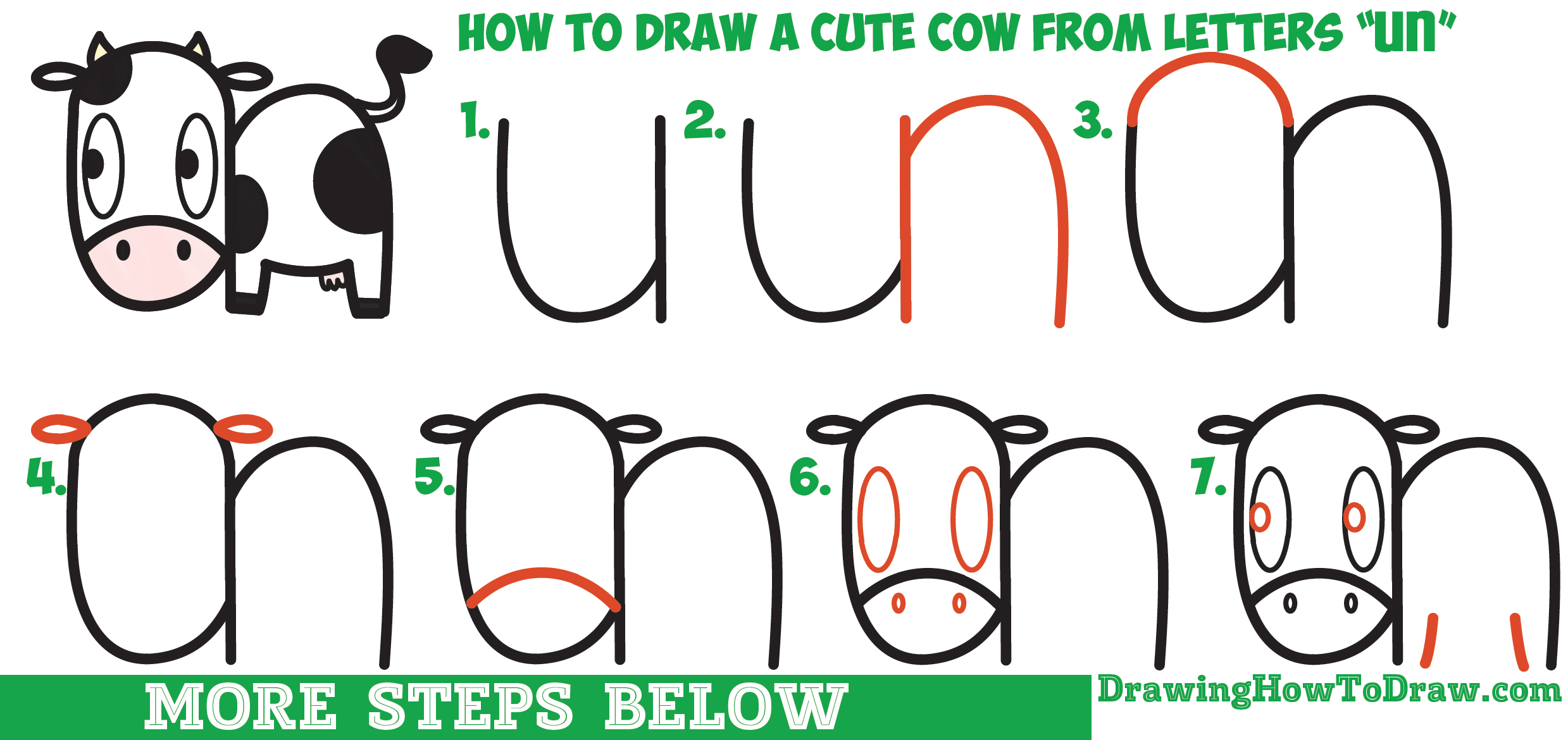 Uncategorized How To Draw Cow how to draw a cute cartoon kawaii cow easy step by drawing tutorial for kids