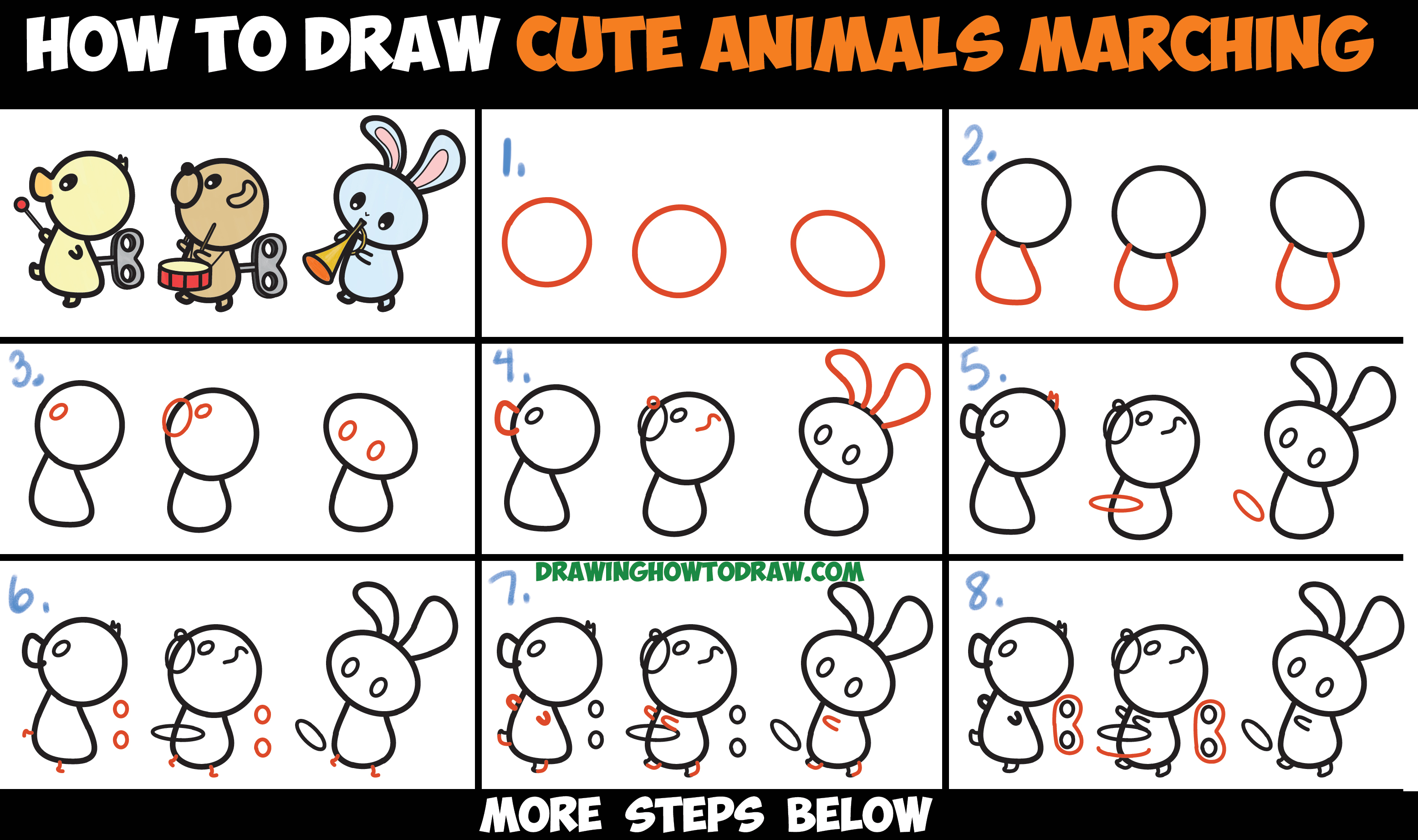How to Draw Cute Kawaii Animals Marching in a Musical Band Easy Step by Step Drawing Tutorial for Kids & Beginners