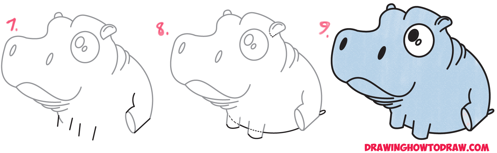 Learn How to Draw a Cute Baby Hippo (Cartoon / Kawaii / Chibi) Simple Steps Drawing Lesson for Children