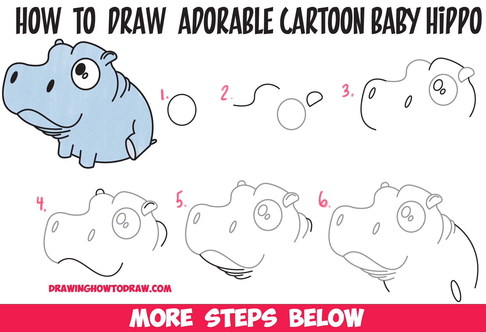 How to draw a cartoon hippo step by for Things to draw for beginners step by step