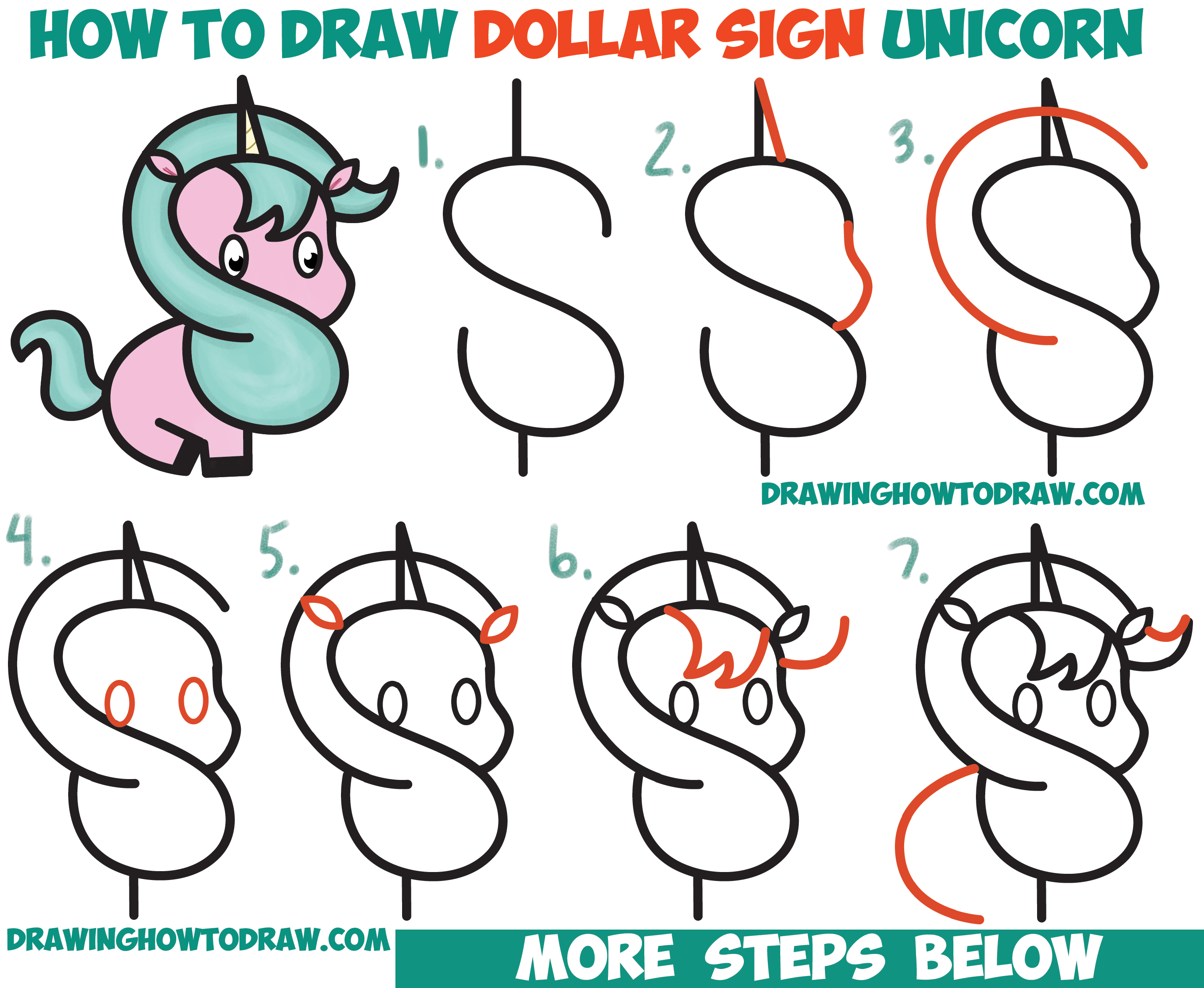 how to draw a cute cartoon unicorn kawaii from a dollar sign easy step - Images For Kids Drawing