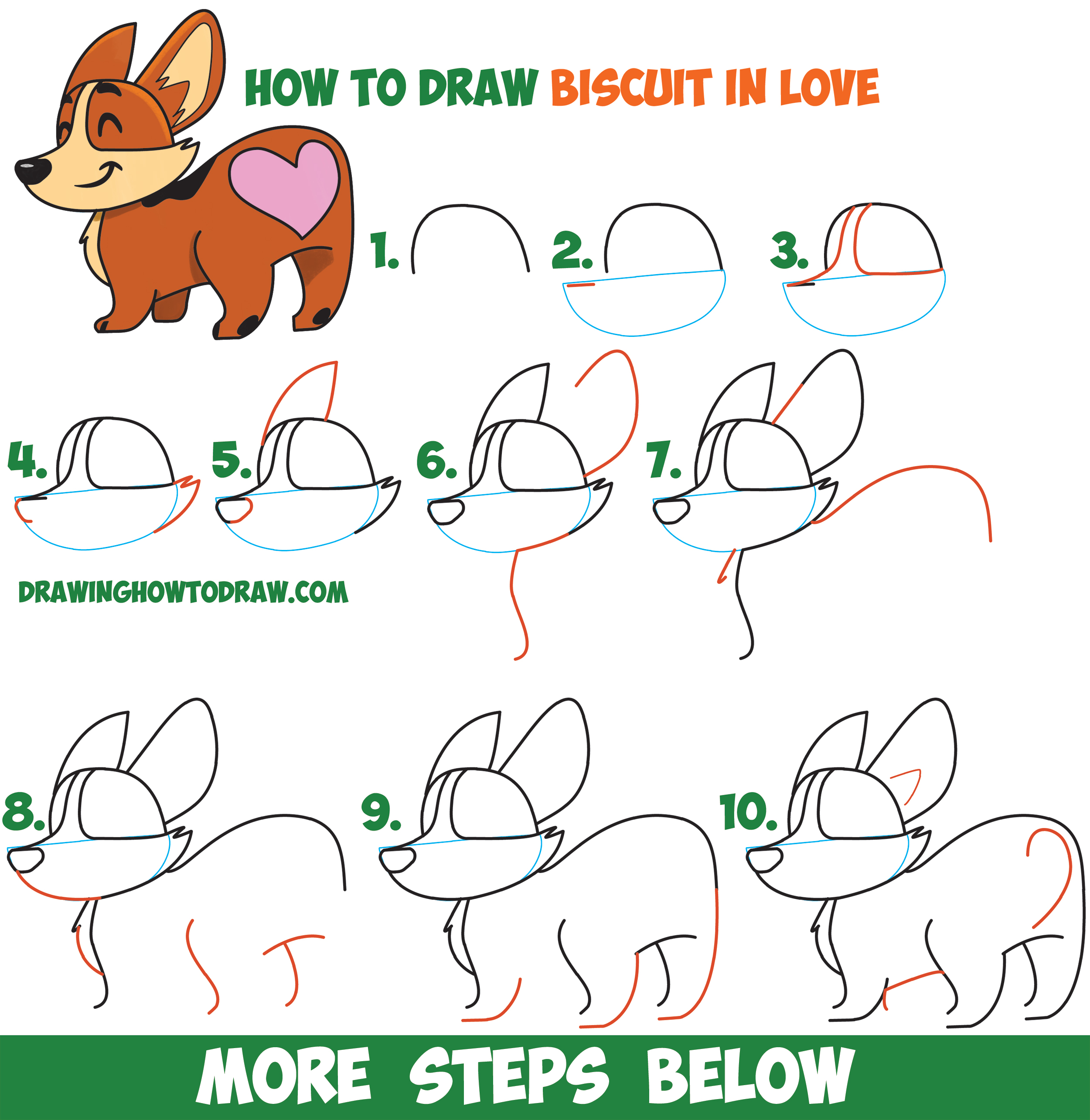 How to Draw Biscuit the Dog from Facebook Messenger - Kawaii / Chibi Style Dog Easy Step by Step Drawing Tutorial