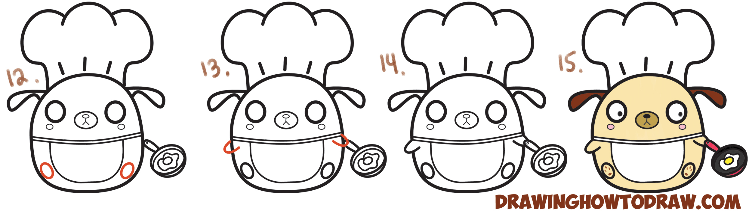 Learn How to Draw Cute Kawaii Chibi Dog Chef Cooking from Question Mark Shapes with Simple Steps Drawing Lesson for Children & Beginners