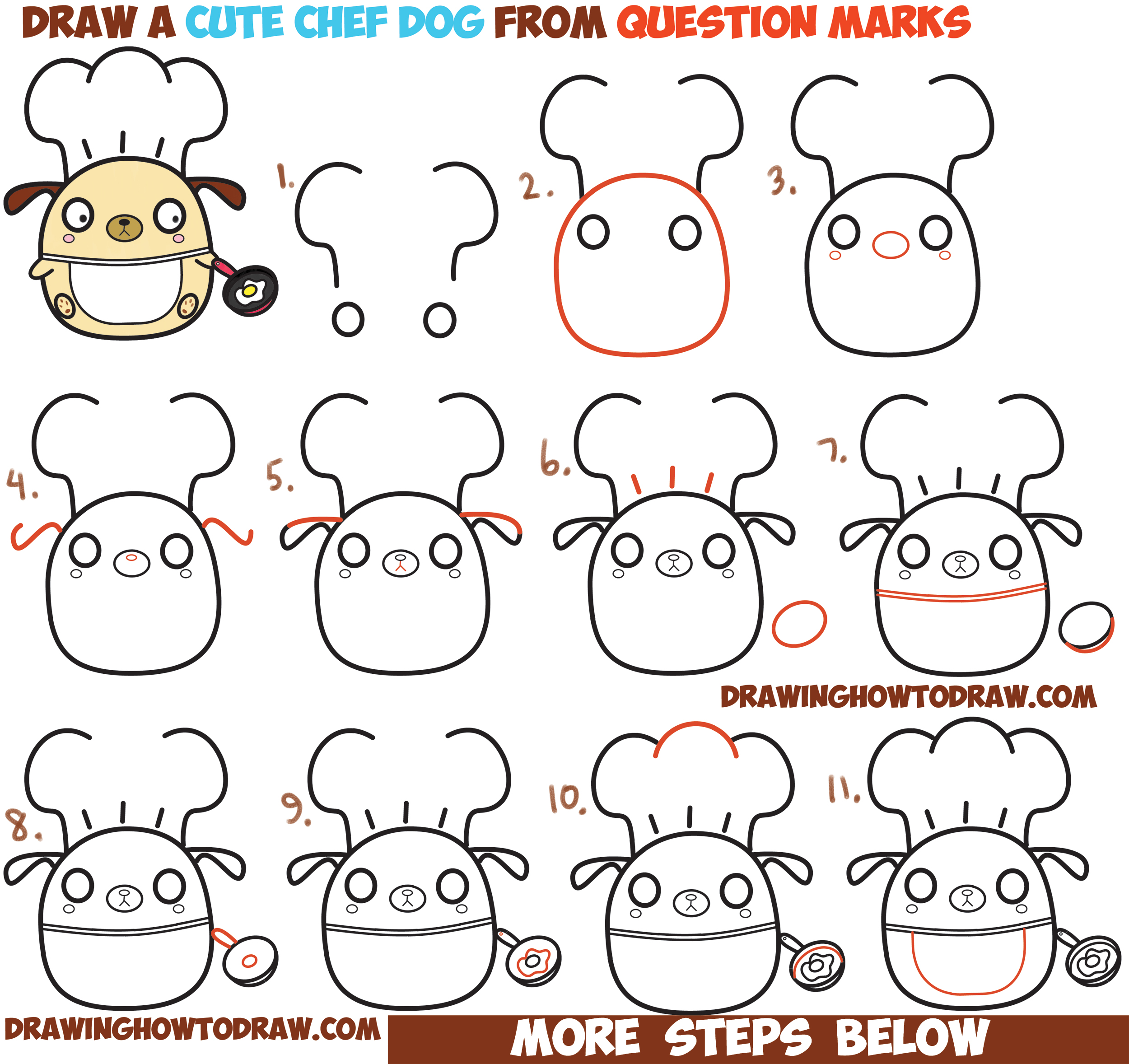 How to Draw Cute Kawaii Chibi Dog Chef Cooking from Question Mark Shapes with Easy Step by Step Drawing Tutorial for Kids