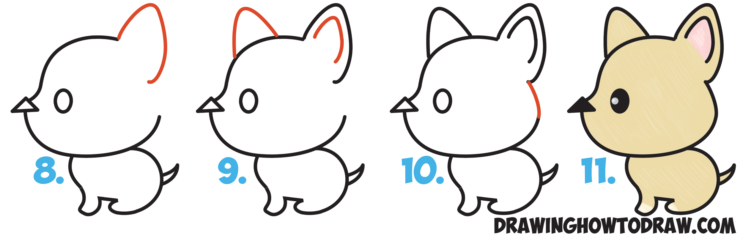 learn how to draw a cute cartoon dog kawaii style from an arrow simple