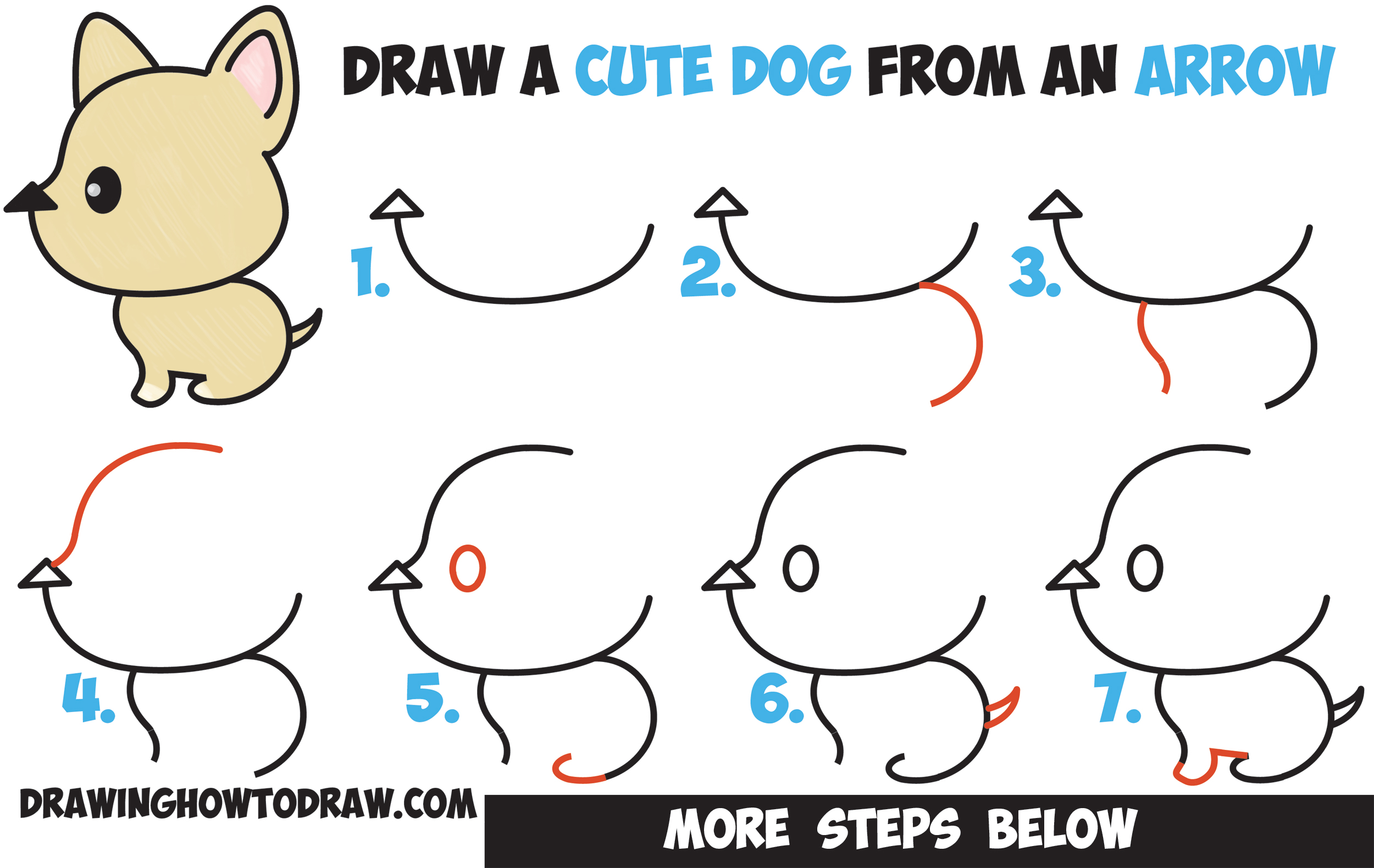 how to draw a cute cartoon dog kawaii style from an arrow easy step
