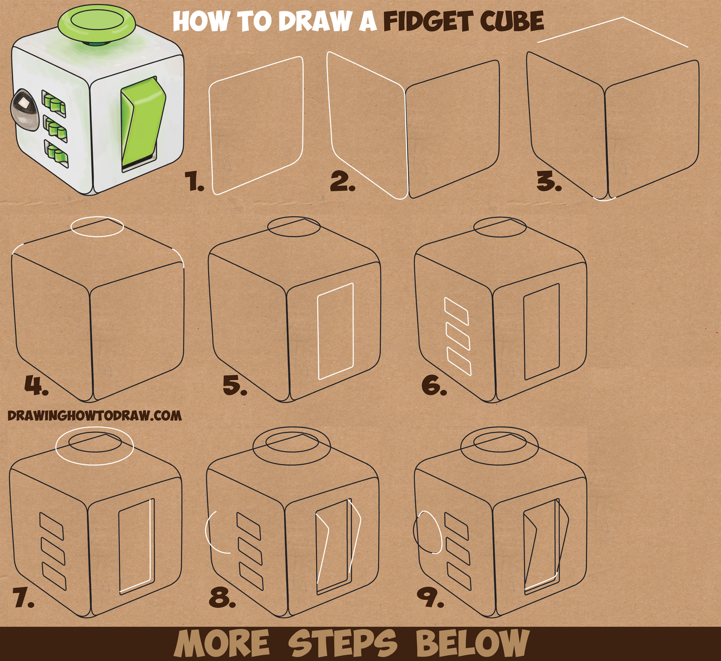 Learn How to Draw a Fidget Cube Easy Step by Step Drawing Tutorial for Kids & Beginners