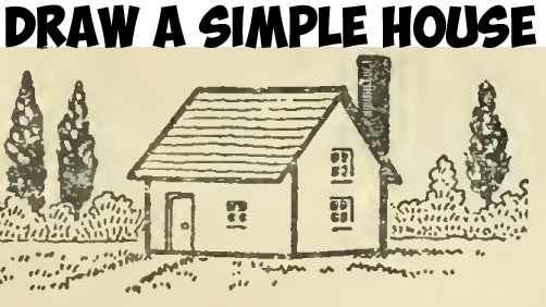 Learn How to Draw a Simple House with Geometric Shapes Easy Steps Drawing Lesson for Children and Beginners