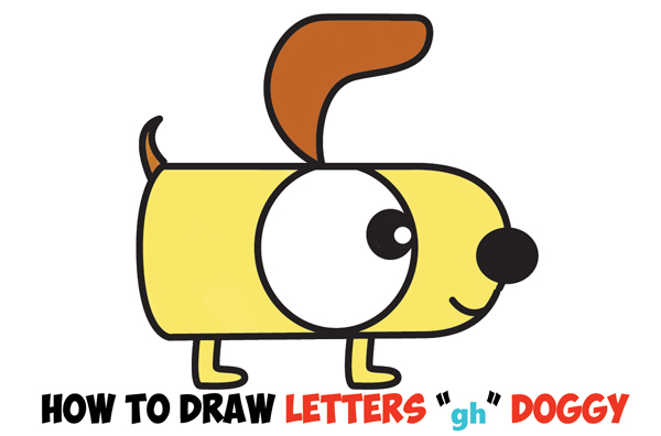 how to draw a cartoon dog from letters g and h easy step by step drawing tutorial for kids
