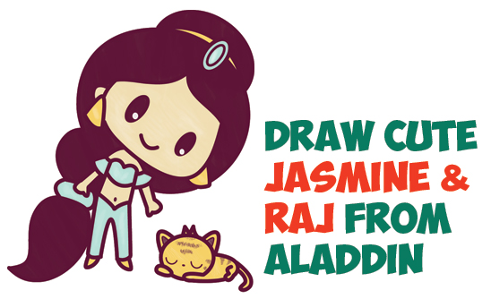 How to Draw Cute Chibi / Kawaii Jasmine & Raj the Tiger from Aladdin with Easy Step by Step Drawing Tutorial for Kids