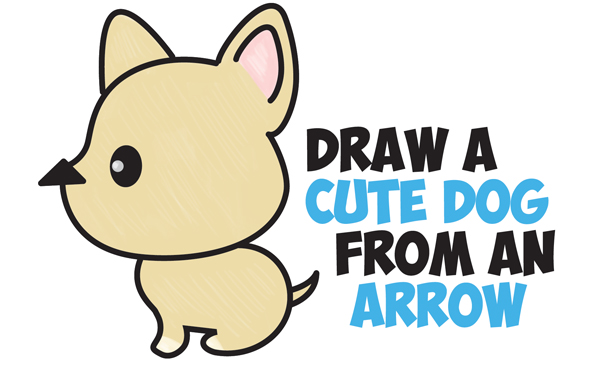 How to Draw a Cute Cartoon Dog (Kawaii Style) from an Arrow Easy Step by Step Drawing for Kids
