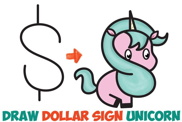 How to draw a cute cartoon unicorn kawaii from a dollar sign easy step by step drawing tutorial for kids how to draw step by step drawing tutorials
