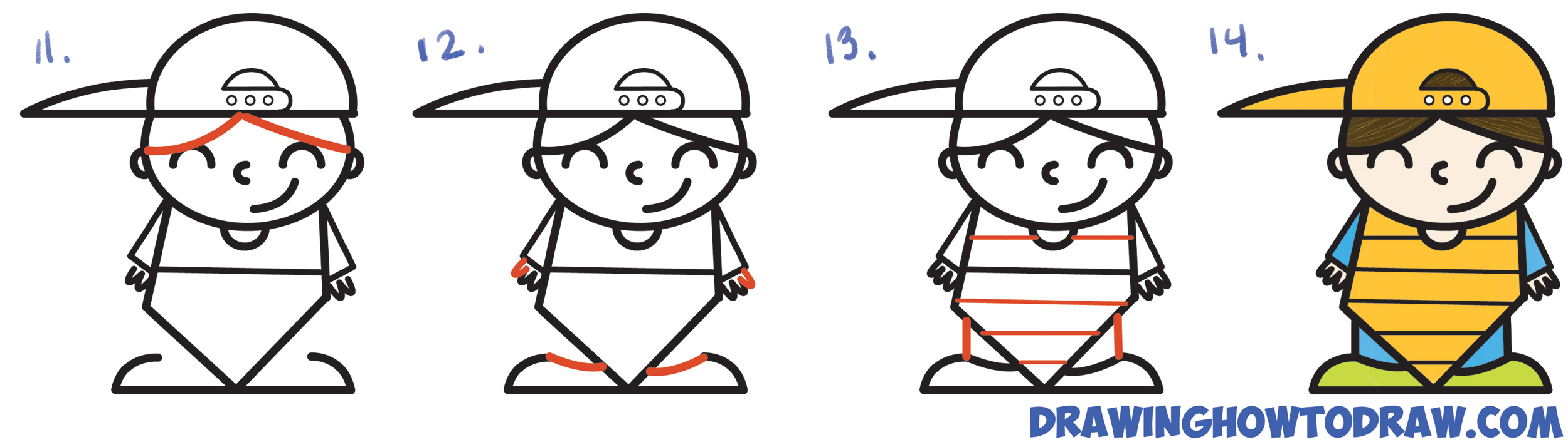 How to Draw a Cute Cartoon Kid Baseball Catcher Word Cartoon Simple Steps Drawing Lesson for Children & Beginners