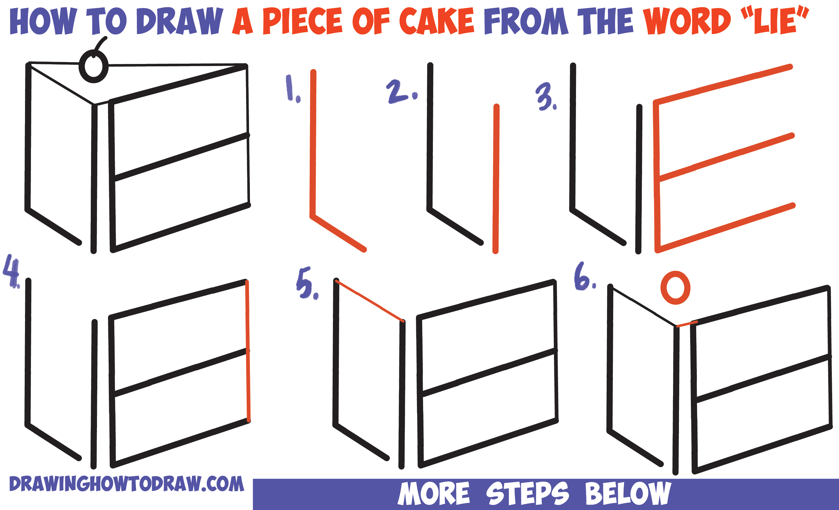 "How to Draw a Piece of Cake from the Word ""LIE"" for a Silly Joke Easy Step by Step Drawing Tutorial for Kids"