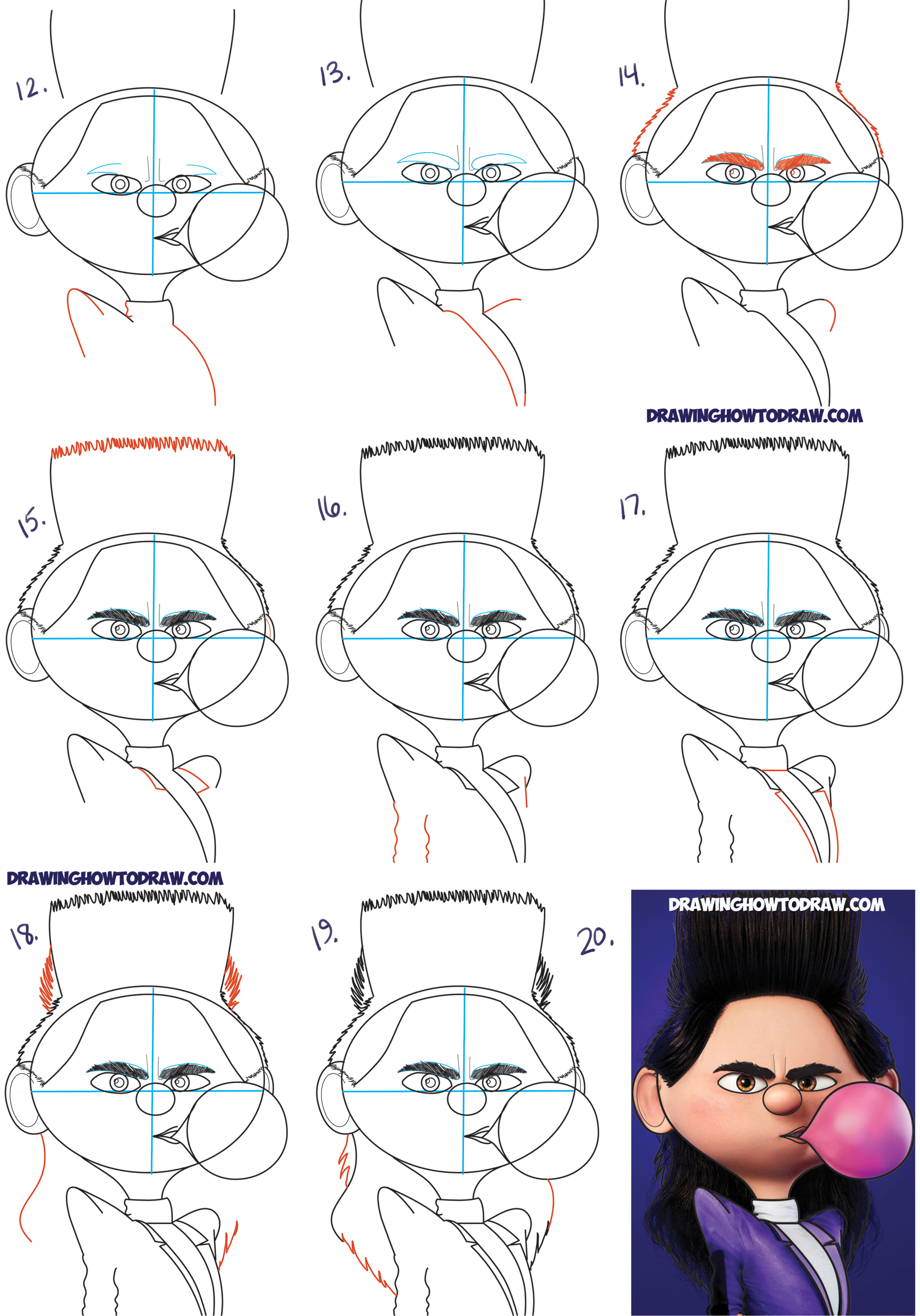 Learn How to Draw Bratt Balthazar as a Kid from Despicable Me 3 Simple Steps Drawing Lesson for Children & Beginners