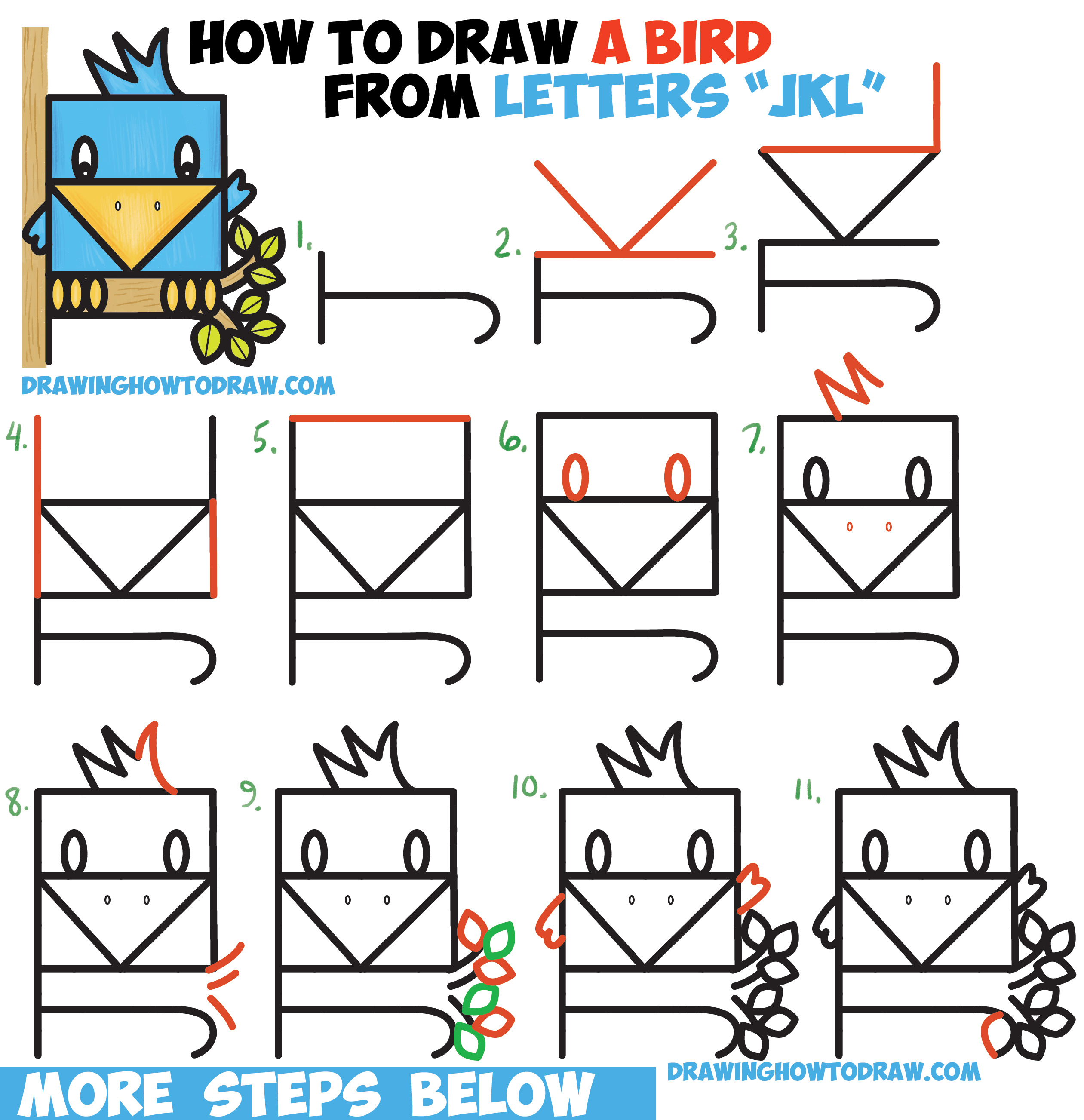 "How to Draw a Cute Bird Sitting in a Tree from Alphabet Letters ""JKL"" Easy Step by Step Drawing Tutorial for Kids"